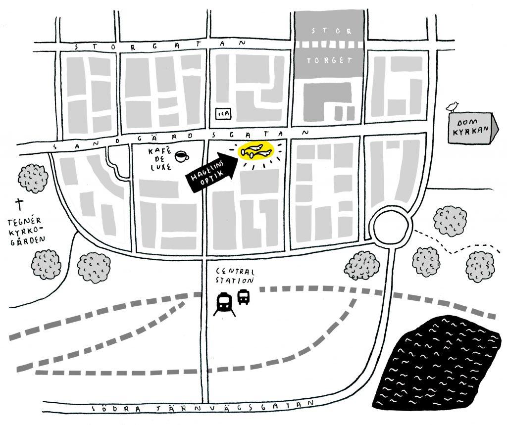 optiker Växjö karta